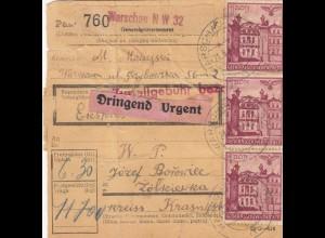 GG Inlandspaketkarte Warschau, Dringend nach Zolkiewka, Karte eingerissen