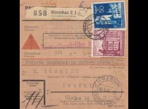 GG Inlandspaketkarte Warschau, Nachnahme nach Krasnik, Paketlagergebühr Rahmen