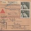 GG Inlandspaketkarte Warschau, Nachnahme mit rücks. Briefträger-Stempel