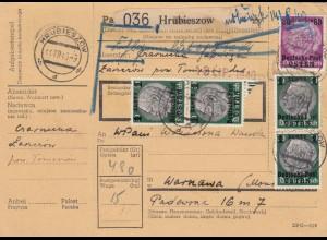 GG Inlandspaketkarte Hrubieszow nach Warschau, Fehlgemeldet, BPP Signatur