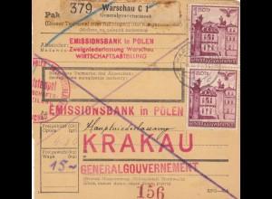 GG Inlandspaketkarte Warschau Emissionsbank nach Krakau
