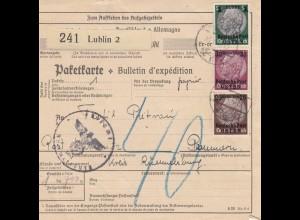 GG Auslandspaketkarte Lublin nach Rümmelsburg/Pommern