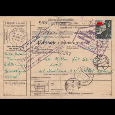 GG: Auslandspaketkarte Tarnow nach Russland über Eydtkau mit Umverpackung selten