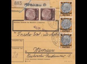 GG: Inlandspaketkarte Krakau 5 nach Warschau, hohe Frankatur