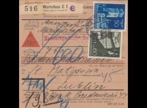 GG: Inlandspaketkarte Warschau, Nachnahme, Lagergebühr 60Gr, Lublin