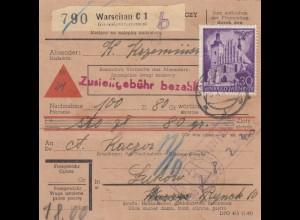 GG: Inlandspaketkarte Warschau, Nachanhme, Paketlagergebühr nach Lukow