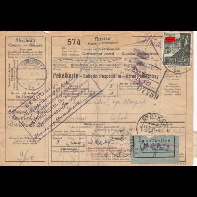GG: Auslandspaketkarte Rzeszow nach Russland über Eydtkau selten