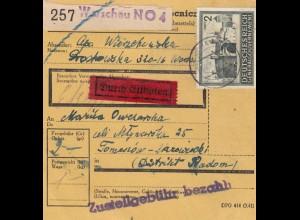 GG: Inlandspaketkarte Warschau-Tomaszow, Eilboten, MiNr. 113, EF