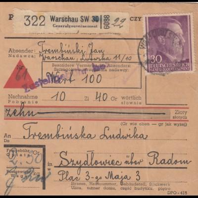 GG: Inlandspaketkarte Warschau-Szydlowiec, Nachnahme, Lagergebühr, offener Wert