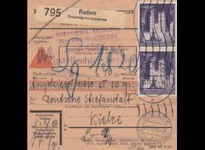 GG: Inlandspaketkarte Radom - Kielce, Rollenstempel, Lagergebühr, Nachnahme