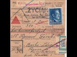 GG Inlandspaketkarte Warschau-Wertpaket-Busko-Zdroj, Beutelpost, Wert, Nachnahme