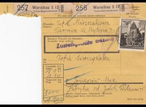 GG Inlandspaketkarte Warschau, 2 Pakete Warschau -Tomaszow