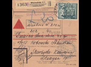 GG Inlandspaketkarte Warschau, Selbstbucher, Nachnahme Lagergebühr, DP Ost 3
