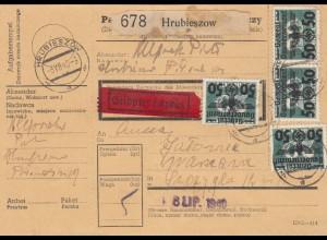 GG Inlandspaketkarte Hrubieszow, Eilbote nach Warschau, Seltene MeF #35
