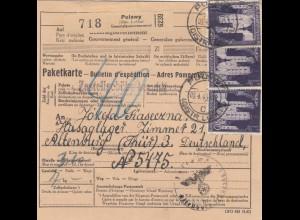 GG Auslandspaketkarte Pulawy nach Altenburg-Hasaglager, MeF 80Gr.