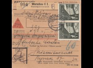 GG Inlandspaketkarte Warschau Nachnahme nach Skierniewice mit schöner 6x MeF
