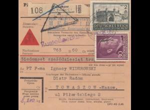 GG Inlandspaketkarte Pruszkow als Nachnahme nach Tomaszow