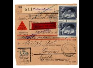 GG Inlandspaketkarte Tschenstochau Eilbote Nachnahme, Krosno, MeF 88B !!!