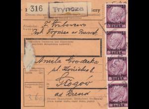GG Inlandspaketkarte Tryncza - Glogow, MeF 30 Gr.