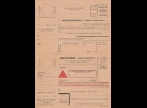 GG: Postanweisung mit NN-Paketkarte blanko Formular, zusammenhängend