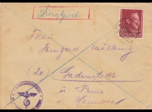 GG: Judaika: Brief Warschau 15.8.44 Dienstpost, Warschauer Aufstand