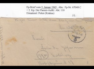 GG: 05.01.45, FPNr. 67048C, Panzer Aufkl. Abt. 110, Krakau nach Coburg