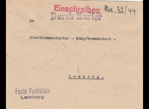 GG: Kurierpost 1944 Funkstelle Lemberg an Kampfkommandant, spät