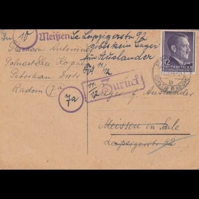 GG: 10/11.1944 Schriftverkehr mit Suche einer Person in versch. Lagern Petrikau