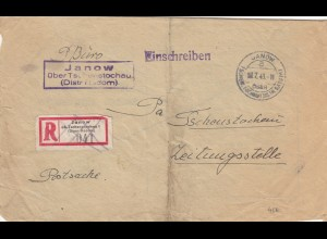 GG: Postsache Janow ans Zeitungsstelle Tschenstochau, Poststelle Janow