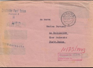 GG: Postsache Lublin nach Wojciechow/Radomsko 1943, Umschlag PSchA wiederverw.