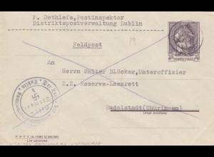 GG: Postsache Der Leiter Distriktspost Lublin nach Rudolstadt