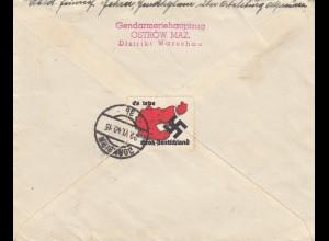 GG: SS-Feldpost Ostrow als Einschreiben, ohne Zettel, mit rücks. Vignette es lebe Groß-Deutschland