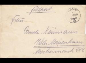 GG: Feldpost 9.10.39 nach Köln, Absender Postschutzmann