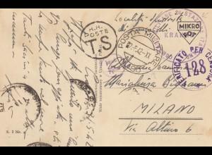 GG: AK Krakau als italienische Feldpost nach Milano, Selten