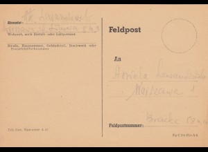 GG: Feldpostkarte während Warschauer Aufstand 1944, leider nicht nachweisbar
