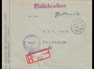 GG R-Brief R-Zettel Fliegerhorst Warschau Feldpost Nr. L.11479 nach Meißen