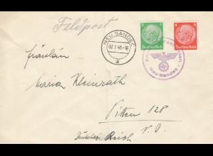 GG frühe Post: Brief 02.1.40 Neu Sandez nach Pitten, 1 Pfg. überfrankiert
