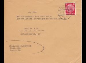 GG frühe Post: Warschau 14.12.39 nach Berlin