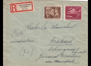 GG Einschreiben Schwientochlowitz nach Krakau 1944