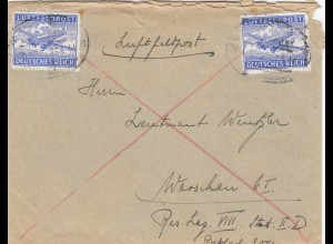 GG Luftfeldpost München nach Warschau mit Briefinhalt
