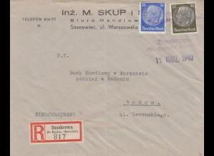 GG frühe Post: Einschreiben Dombrowa 11.3.40 nach Radom, portogerecht