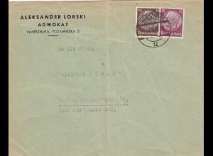 GG frühe Post: 3.12.39 Warschau nach Berlin, portogerecht