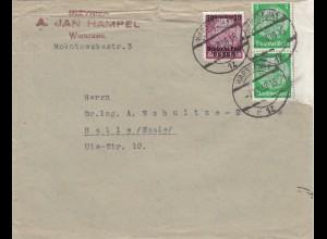 GG frühe Post: 7.12.39 Warschau nach Halle Saale, portogerecht
