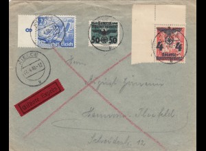 GG frühe Post: 06.04.40, Eilbote Kielce nach Hannover, Eckrand, seltene MiF