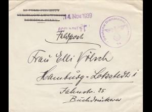 GG frühe Post: 14.11.39 Feldpost nach Hamburg DDPO 74