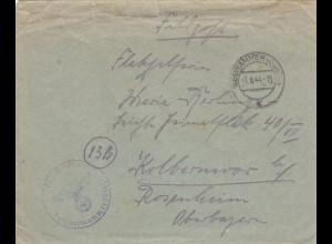 GG: Brief 3.8.45, FPNr. 28966B, SS-Freiwilligen Division Galizien, SS-Ostuf, Neuhammer