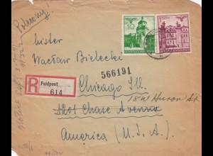 GG: USA: Einschreiben Feldpost/Überdruck Warschau nach Chicago, portogerecht