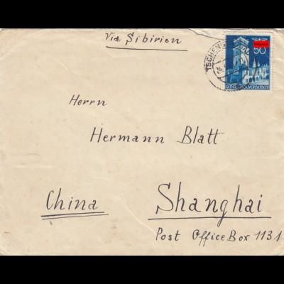 Judaika China: Brief nach Shanghai über Sibirien, jüdische Kolonie, Zensur