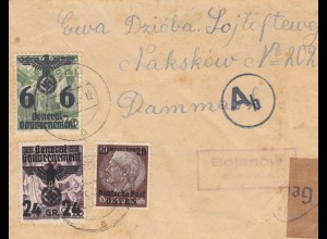 GG Demark: portogerechter Brief Bojanow/Nisko nach Dammark