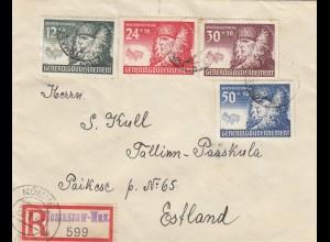 GG Estland: Einschreiben Tomaszow, 6 Gr. überfrankiert, seltene Frankatur